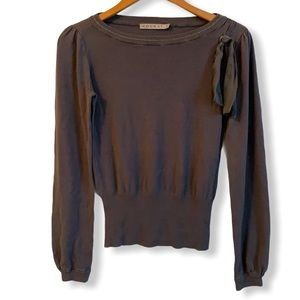 Fine knit grey sweater with silk trim SUPER SOFT
